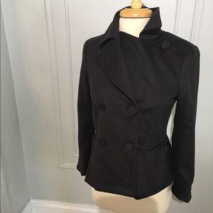 Theory soft black double breasted jacket peplum